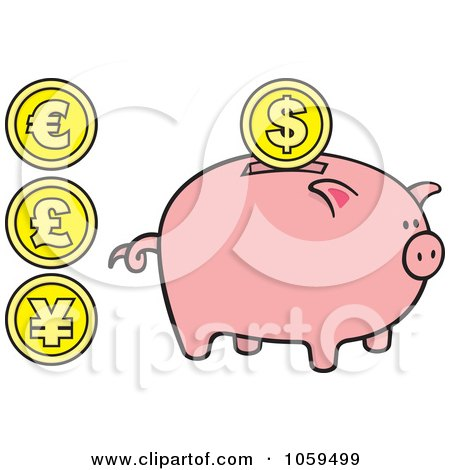 Royalty-Free Vector Clip Art Illustration of a Digital Collage Of Coins And A Piggy Bank by Any Vector