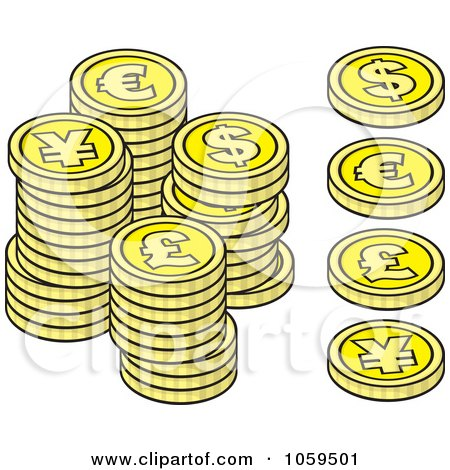 Royalty-Free Vector Clip Art Illustration of a Digital Collage Of Euro, Dollar, Lira And  Yen Coins by Any Vector