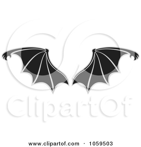 Royalty-Free Vector Clip Art Illustration of a Pair of Bat Wings by Any Vector