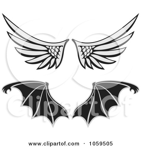 Royalty-Free Vector Clip Art Illustration of a Digital Collage Of Angel And Bat Wings by Any Vector