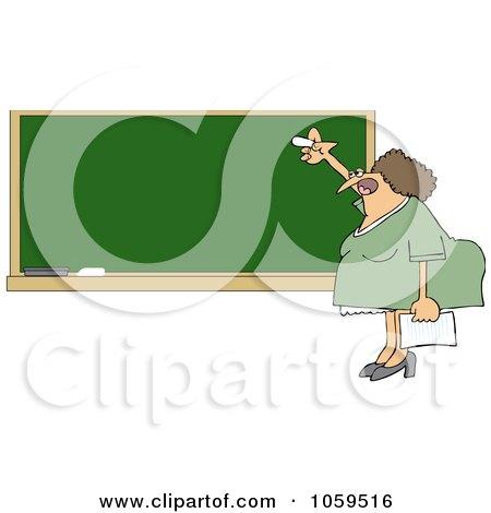 Royalty-Free Vector Clip Art Illustration of a Lady Teacher Writing On A Chalk Board by djart
