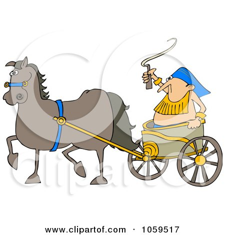 Royalty-Free Vector Clip Art Illustration of a Horse Pulling A Guy In A Chariot by djart