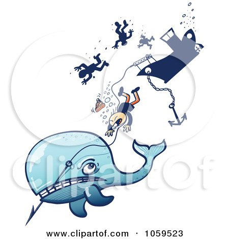 Royalty-Free Vector Clip Art Illustration of an Angry Whale Taking Down A Whaling Ship by Zooco