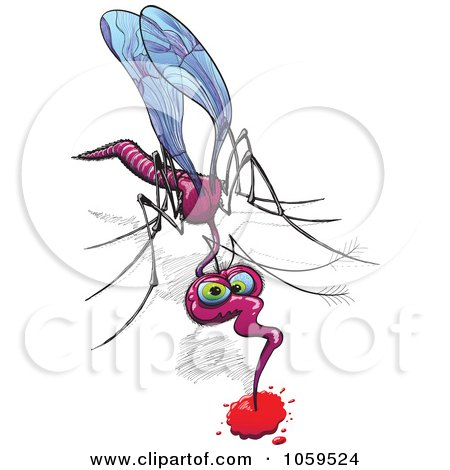Royalty-Free Vector Clip Art Illustration of a Mosquito Drinking Blood by Zooco
