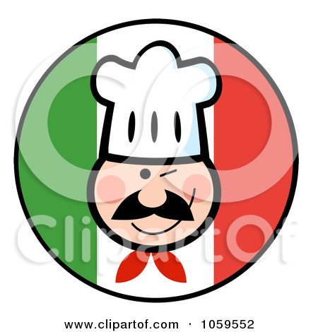 Royalty-Free Vector Clip Art Illustration of a Winking Chef Face Over An Italian Flag Circle by Hit Toon