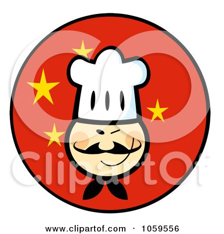 Royalty-Free Vector Clip Art Illustration of an Asian Chef Face Over A China Flag Circle by Hit Toon