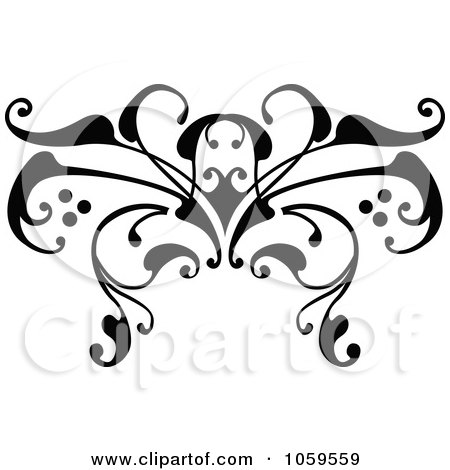 Royalty-Free Vector Clip Art Illustration of a Black And White Swirl Butterfly Tattoo Design by AtStockIllustration