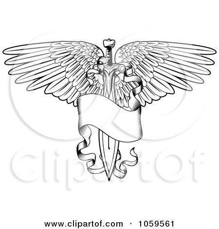 Royalty-Free Vector Clip Art Illustration of a Black And White Winged Sword And Banner Tattoo Design by AtStockIllustration