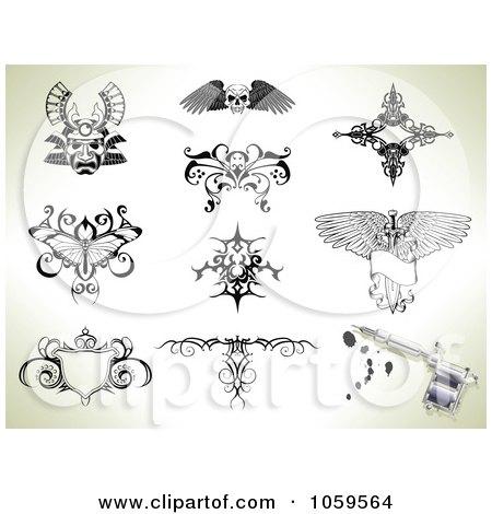 Royalty-Free Vector Clip Art Illustration of a Digital Collage Of Tattoo Designs by AtStockIllustration