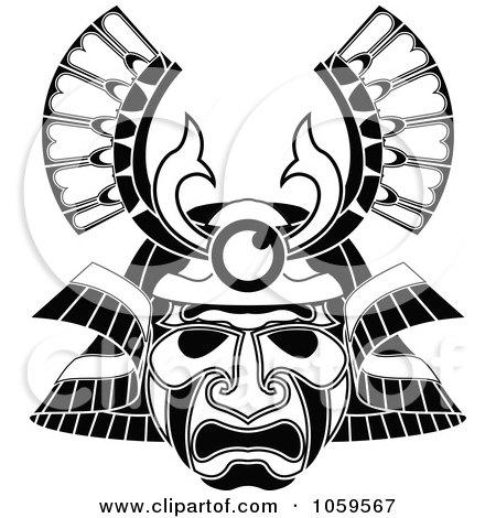Royalty-Free Vector Clip Art Illustration of a Tribal Mask Tattoo Design by AtStockIllustration