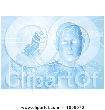Royalty-Free Vector Clip Art Illustration of a Blue Virtual Man Pushing A Button On A Map Screen by AtStockIllustration