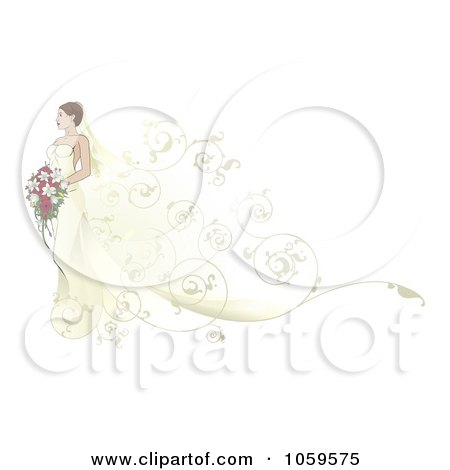 Royalty-Free Vector Clip Art Illustration of a Beautiful Bride Walking With Swirls Behind Her by AtStockIllustration