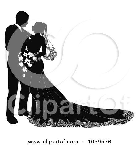 Royalty-Free Vector Clip Art Illustration of a Black And White Silhouetted Wedding Couple Gazing by AtStockIllustration