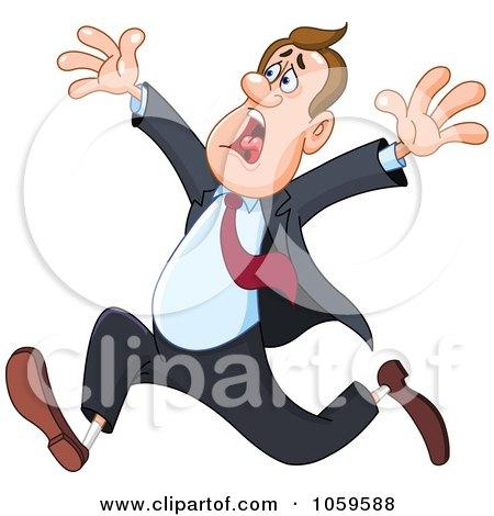 Royalty-Free Vector Clip Art Illustration of a Stressed Businessman Running by yayayoyo