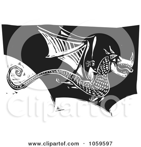 Royalty-Free Vector Clip Art Illustration of a Black And White Woodcut Styled Dragon In Flight by xunantunich