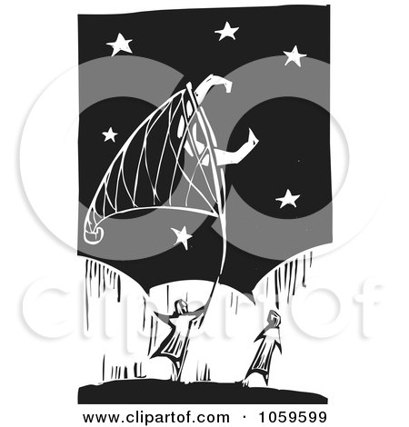 Black And White Woodcut Styled Couple Catching The Moon With A Net Posters, Art Prints