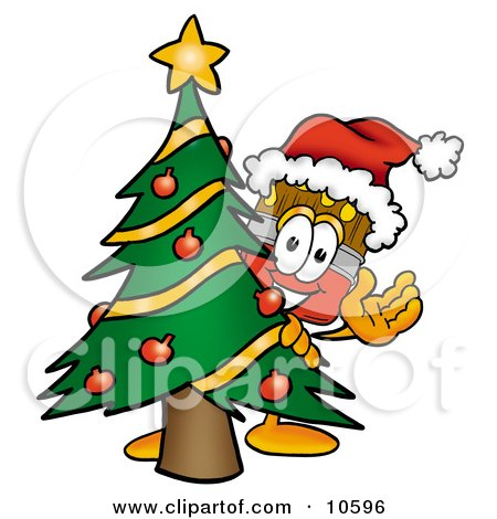 Clipart Picture of a Paint Brush Mascot Cartoon Character Waving and Standing by a Decorated Christmas Tree by Toons4Biz