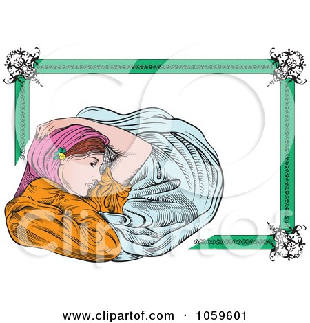 Royalty-Free Vector Clip Art Illustration of an Art Deco Victorian Woman Frame by pauloribau