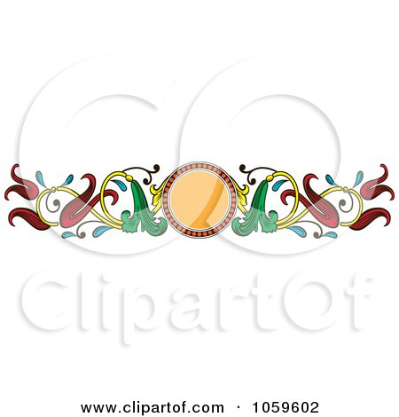 Royalty-Free Vector Clip Art Illustration of an Art Deco Floral Border by pauloribau