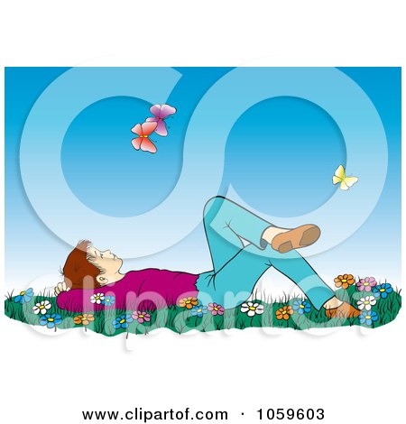Royalty-Free Vector Clip Art Illustration of a Boy Laying In Grass And Wildflowers And Gazing At Butterflies by pauloribau