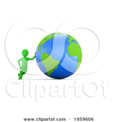 Royalty-Free CGI Clip Art Illustration of a 3d Green Guy Leaning Against A Globe by chrisroll