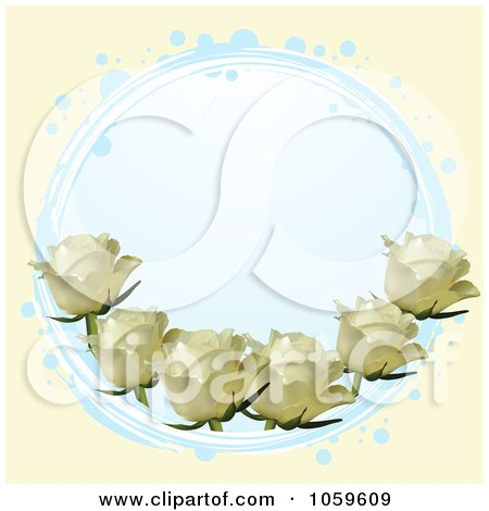 Royalty-Free Vector Clip Art Illustration of a Blue Circle With Ivory Roses On Cream by elaineitalia