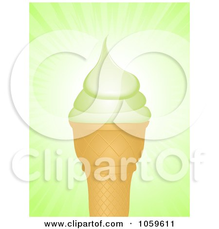 Royalty-Free Vector Clip Art Illustration of a Pistachio Ice Cream Cone Over Green Rays by elaineitalia