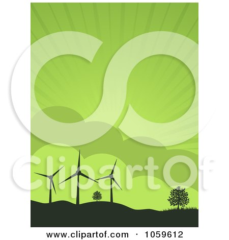 Royalty-Free Vector Clip Art Illustration of Silhouetted Wind Turbines And Trees On Hills, Against A Green Sky by elaineitalia
