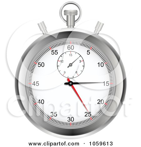 Royalty-Free Vector Clip Art Illustration of a Silver Stop Watch by elaineitalia