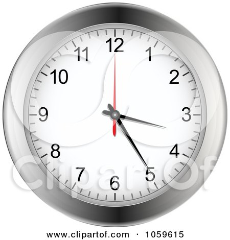 Royalty-Free Vector Clip Art Illustration of a Silver Wall Clock by elaineitalia