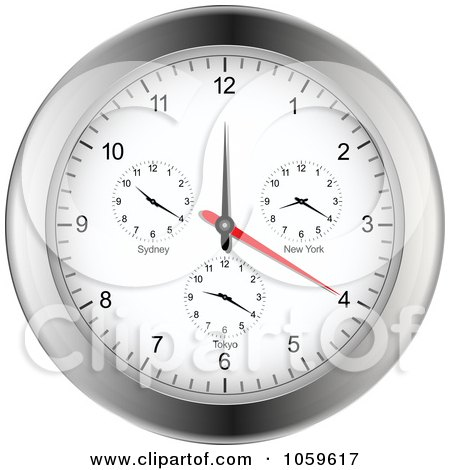 Royalty-Free Vector Clip Art Illustration of a Silver Wall Clock With Different Time Zones by elaineitalia