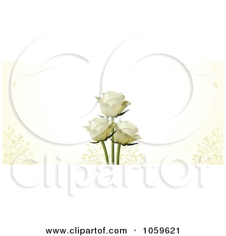 Royalty-Free Vector Clip Art Illustration of a Banner Of Ivory Roses With Petals On Cream by elaineitalia