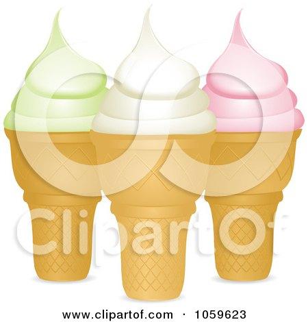 Royalty-Free Vector Clip Art Illustration of Pistachio, Vanilla And Strawberry Ice Cream Cones by elaineitalia