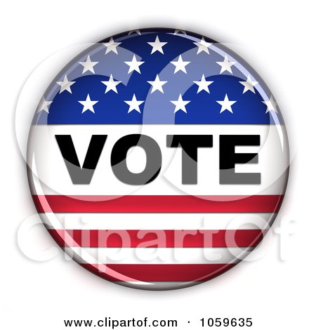 Royalty-Free CGI Clip Art Illustration of a 3d Vote Button With Stars And Stripes by stockillustrations