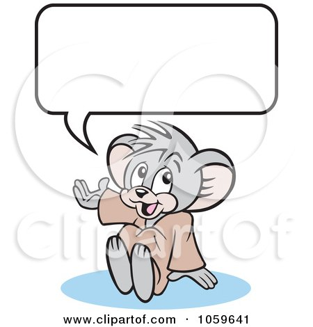 Royalty-Free Vector Clip Art Illustration of a Micah Mouse Sitting Under A Word Balloon by Johnny Sajem