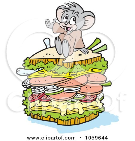 Royalty-Free Vector Clip Art Illustration of a Micah Mouse Sitting On A Big Sandwich by Johnny Sajem