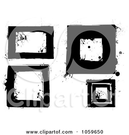 Royalty-Free Vector Clip Art Illustration of a Digital Collage Of Black And White Grunge Frames - 1 by michaeltravers