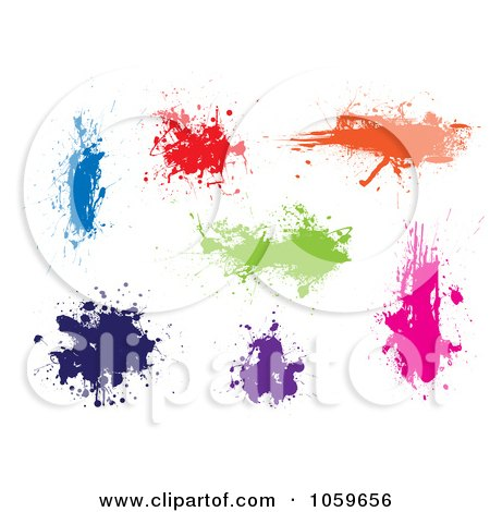 Royalty-Free Vector Clip Art Illustration of a Digital Collage Of Colorful Ink Splats by michaeltravers