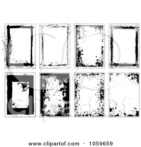 Royalty-Free Vector Clip Art Illustration of a Digital Collage Of Black And White Grunge Frames - 2 by michaeltravers
