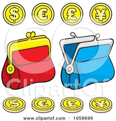 Royalty-Free Vector Clip Art Illustration of a Digital Collage Of Coins And Change Purses by Any Vector