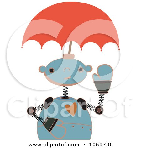 Royalty-Free Vector Clip Art Illustration of a Springy Robot With An Umbrella Head by mheld