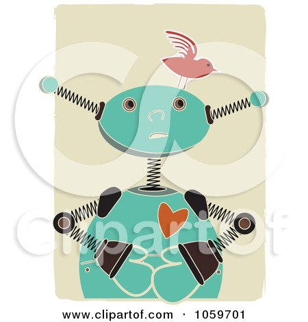 Royalty-Free Vector Clip Art Illustration of a Springy Robot With A Bird On His Head by mheld