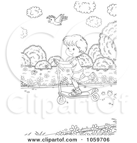 Royalty-Free Clip Art Illustration of a Coloring Page Outline Of A Coloring Page Outline Of A Bird Flying Over A Boy On A Scooter by Alex Bannykh