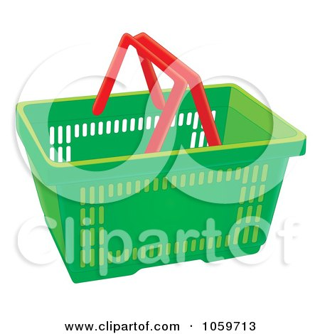 Royalty-Free Clip Art Illustration of a Green Shopping Basket With Red Handles by Alex Bannykh