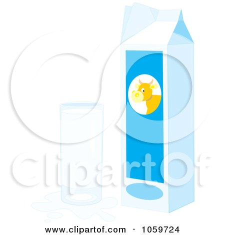 Royalty-Free Vector Clip Art Illustration of a Carton And Glass Of Milk With A Splash by Alex Bannykh