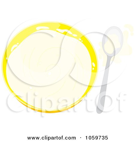 Royalty-Free Vector Clip Art Illustration of a Bowl And Spoon With Splashed Milk by Alex Bannykh