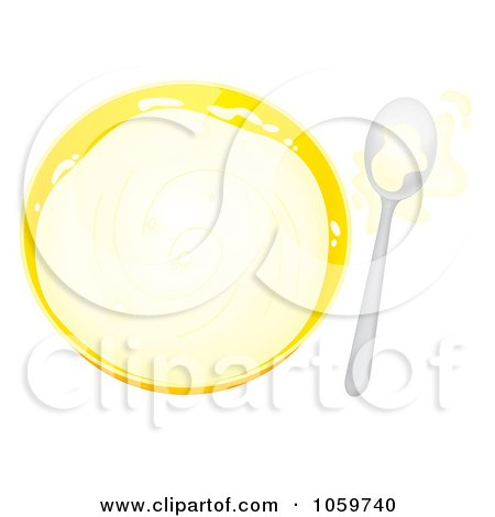 Royalty-Free Clip Art Illustration of an Airbrushed Bowl And Spoon With Splashed Milk by Alex Bannykh