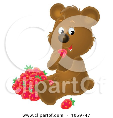 Royalty-Free Clip Art Illustration of a Bear Eating Strawberries by Alex Bannykh