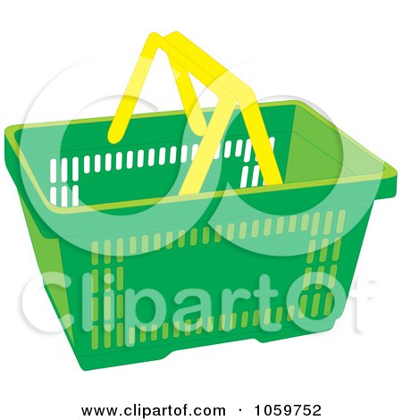 Royalty-Free Vector Clip Art Illustration of a Green Shopping Basket With Yellow Handles by Alex Bannykh