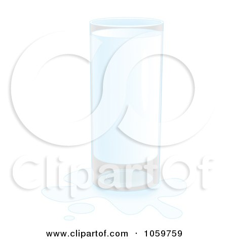 Royalty-Free Clip Art Illustration of an Airbrushed Glass Of Milk With A Splash by Alex Bannykh